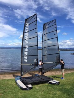 Wave Chaser crafts a new genre between catamaran and windsurfer The Wave Chaser prototype on the beach and ready to launch Utility Boat, Sailing Catamaran, Sailing Ships, Small Sailboats, Surfing Pictures, Vintage Surf, Pontoon Boat, Windsurfing, Small Boats