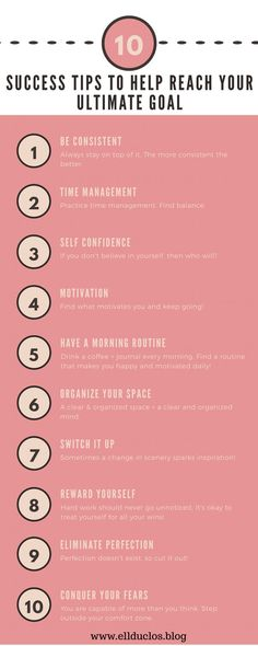 10 success tips to help you reach your ultimate goal. How to stay motivated and find your happiness and success. How to become a successful blogger. The ultimate success tips.
