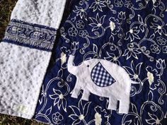 Elephant Baby Quilt, personalized label included, gender neutral baby blanket, navy blue and white on Etsy, $80.00