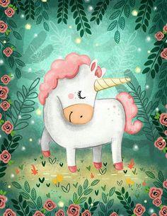 Tierno unicornio rosa