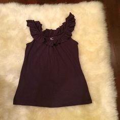 GAP purple ruffle tank top In great condition! This picture is a bit dark, the color is purple. GAP Tops Tank Tops