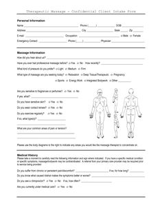 1 Page Massage Intake Form | Client Salon Forms - Welcome to Salon DG - A Full Service Hair, Nails ...
