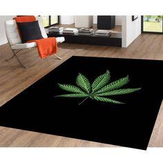 5'x8' Area Rug Mary Jane Leaf Weed Marijuana Plant Carpet Design Area Rug