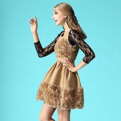 Slimming Flower Decorate Sleeveless Winter Dress Camel Black