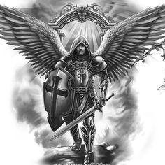 Angel Warrior Tattoo, Guardian Angel Tattoo, Warrior Tattoos, Angel Tattoo Designs, Tattoo Sleeve Designs, Tattoo Designs Men, Archangel Michael Tattoo, St Michael Tattoo, Michael Angelo Tattoo