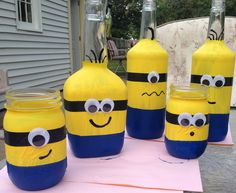 Bottles and jars for our Minion party