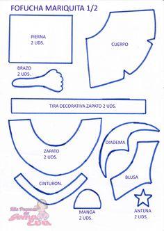 Moldes de Fofucha Mariquita 1/2. En la entrada de mi blog: http://mispecosasdegomaeva.blogspot.com.es/2014/03/fofucha-mariquita-moldes.html