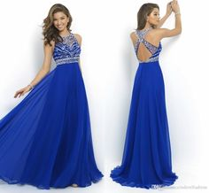 $79 In Stock 2016 Sheer Royal Blue Chiffon A-Line Prom Dresses Cross Back Sparkly Beading Long Evening Runway Celebrity Party Gowns 2015 New Online with $133.95/Piece on Cinderelladress's Store | DHgate.com
