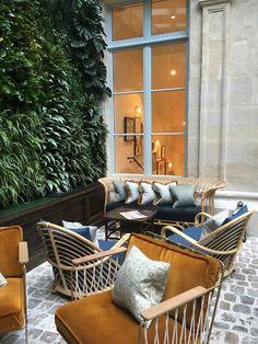 The Hoxton Paris Design Entrée, Interior Design, Banquette Restaurant, Hotel Corridor, Hotel Lobby Design, Gate House, Outdoor Chairs, Outdoor Decor, Hotel Interiors