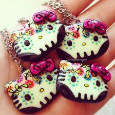 Cute Hello Kitty Mexican Sugar Skull Necklace by momomony on Etsy from momomony on Etsy. Saved to Epic Wishlist. #hellokitty #sugarskull #necklace #cute #hello #kitty #follow4follow #skull.