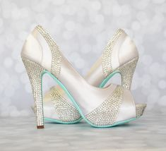 Wedding Shoes White Platform Peep Toe by EllieWrenWeddingShoe
