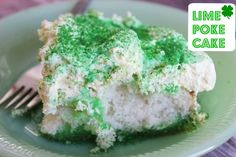 Patty's Lime Poke Cake - Looking for something green and sweet to make for St. Patrick's Day?  This Lime Poke Cake will be perfect!