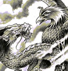 love! A3 Dragon Phoenix Japanese Tattoo Art Print by misslilylocket, $22.00