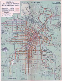 "1934 Los Angeles railway...once upon a time you could rie the ""Red Car"" from Pasadena to the Sea...after WWII a major car company & a major tire company convinced the city that they could build a more efficient system, got the contract, scrapped the trollies, ripped up thousands of miles of track and now we have buses clogging the streets, spewing poison and creating a tangled web of confusing routes...stay off the bus!"