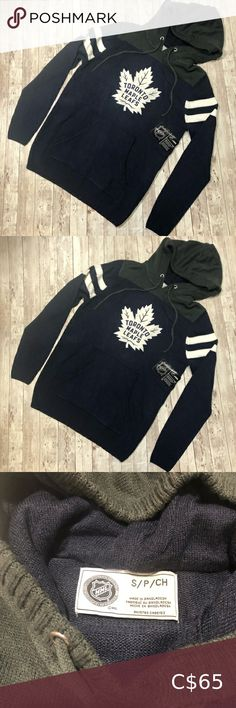 NWT Toronto Maple Leafs Knit Hoodie NHL Officially Licenced Product Armpit to armpit - Shoulder to hem - NHL Sweaters Toronto Maple, Plus Fashion, Fashion Tips, Fashion Trends, Cool Items, Nhl, Men Sweater, Man Shop, Hoodies
