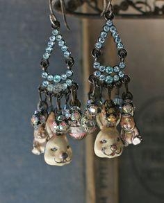 Vintage rhinestones: Bunny Love  assemblage earrings by crownedbygrace on Etsy, $38.00