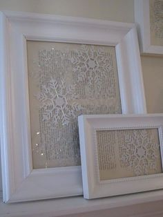 Put Dollar store snowflake ornaments against vintage paper in photo frames~ or just some pretty scrapbook paper! by colleenscdmr