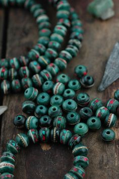 Forest: Stained Rich Green Bone Beads Inlaid Turquoise, Coral, Brass, 9mm Rondelle, Nepal, Natural Jewelry Making Supplies, 10 beads