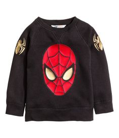 Long-sleeved top in printed sweatshirt fabric with raglan sleeves and ribbing at the cuffs and hem. Spiderman Kids, Black Spiderman, Boys Clothes Online, Marvel Clothes, Disney Boys, Cute Baby Clothes, Printed Sweatshirts, Boys T Shirts, Fashion Kids