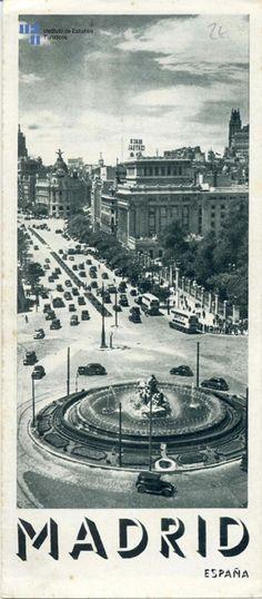 portada de un plano de madrid, intervalo 1939-1951, mirando desde cibeles hacia gran vía...