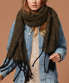 Look what I found on #zulily! Olive Boucle Fringe Scarf #zulilyfinds