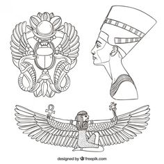 Hand drawn egypt culture elements Free Vector - Hand drawn egypt c. Egyptian Symbols, Egyptian Art, Egyptian Mummies, Mayan Symbols, Viking Symbols, Egyptian Goddess, Viking Runes, Ancient Symbols, Gott Tattoos