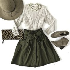 olive green paperbag tie waist skirt leopard clutch wool hat cable knit sweater