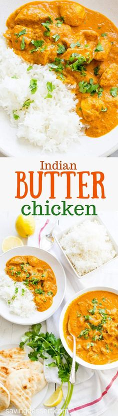 Indian Butter Chicken ~ also known as Chicken Makhani, is a classic, flavorful Indian dish. In this easy,make-at-home version of the restaurant favorite, you control the heat. Make it as spicy or mild as you want, but I say bring the heat! #savingroomfordessert #butterchicken #indianbutterchicken #chicken #indianrecipe #dinner