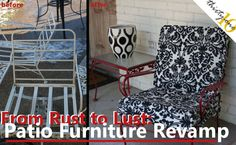 Great Inspiration on how to turn any old patio set into something really cute... so easy! - Patio Furniture Makeover and Tutorial