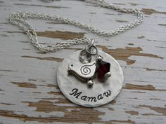 Mamaw hand stamped necklace - bird charm - distressed - your birthstone crystal color - silver - gifts for mom grandma mother - personalized