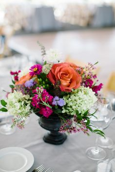 Peach Purple and Cream Floral Reception Arrangement | photography by http://www.summerstreetphotography.com/