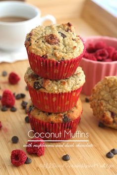 Coconut Raspberry Chocolate Chip Muffins - Low Carb and Gluten-free