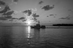 Coast Guard off of Mallory Square at sunset in Key West.