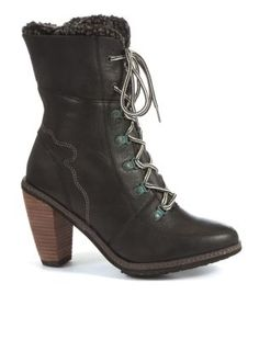 Feud Black Leather Lace Up Hiker Boots