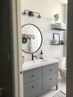 Home Interior Pictures Farmhouse Style Bathroom Makeover.Home Interior Pictures Farmhouse Style Bathroom Makeover Guest Bathrooms, Bathroom Renos, Bathroom Renovations, Bathroom Interior, Modern Bathroom, Bathroom Ideas, Bathroom Organization, Bathroom Fixtures, Bathroom Designs