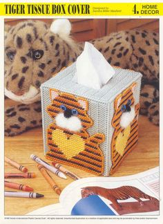 Tiger Tissue Box Cover plastic canvas pattern