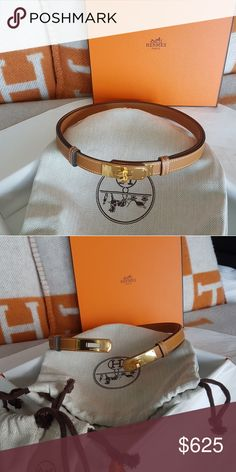 HERMES Kelly belt. HERMES Kelly belt in most recognizable classic color Gold with gold hardware. One size. Brand new with box and plastic still on. Hermes Accessories Belts