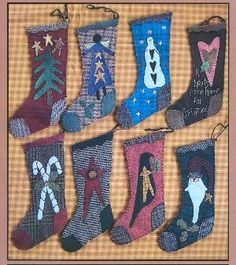 """Wool Christmas Stockings  9""""   The Pattern Hutch - Primitive Gatherings"""