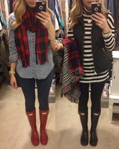 @paigeshealyn Instagram : rainy day outfit ideas/ inspiration. Hunter boot outfits
