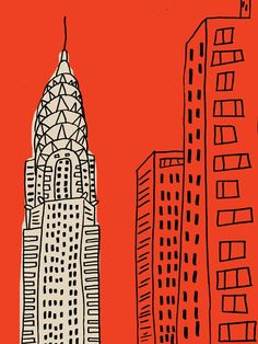 "Chrysler Building✨ Scene from ""Sex & The City"": Carie to Big: ""You can't leave New York for Napa.you're the Chrysler Building! Chrysler Building, Graphisches Design, Graphic Design, City Poster, Tattoo Foto, Art Watercolor, City Illustration, Building Illustration, Art Plastique"