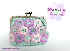 Monedero de flores puff. Patrón gratuito / Crocheted flower puff purse. Free pattern