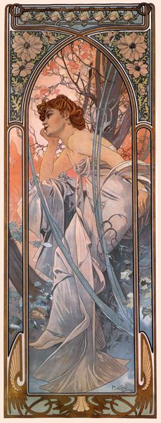 Mucha. Evening Reverie. Using decorative borders and/or long vertical formats would be another good way of bringing in  Art Nouveau.
