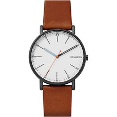 Skagen Men's Signatur Brown Leather Strap Watch – Clock Ideas Men's Watches, Casual Watches, Jewelry Watches, Analog Watches, Fashion Watches, Nice Watches, Cheap Watches, Elegant Watches, Vintage Watches