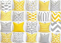 YELLOW GRAY Pillow SALE. Pillows.16x16 inch Decorator Pillow Cushions.Printed Fabric Front and Back.Housewares.Home Decor