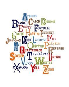 Boy Alphabet – Sports Theme – Boy Nursery – Baseball - Football - Blue Alphabet – Playroom Art - Boys Bedroom Art - Playroom - Boy    Vibrant