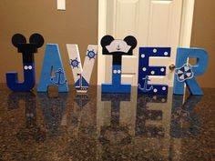 Nautical Mickey Mouse Custom Name Letters by KimsCrafts39 on Etsy