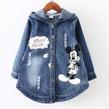 spring autumn baby girls coats and jackets Hooded cartoon Denim outerwear