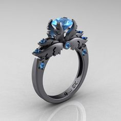 Classic Angel 14K Gray Gold 1.0 Carat Blue Topaz Solitaire Engagement Ring R482-14KGGBT on Etsy, $2,399.00