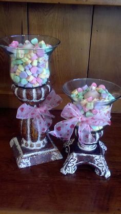 I'm going to do this with my Bell Jar Candle Holders from Southern Living. Conversation hearts and candles make them cute Valentine decorations. Baby Food Jar Crafts, Baby Food Jars, Jar Candle, Candle Holders, Candles, Repurpose, Reuse, Willow House, Southern Living Homes