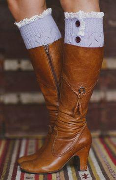 Lilac Button-Up Boot Cuffs
